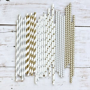 Image of Metallic Paper Straws