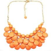 Image of Teardrop Bib Necklace + Earrings: Coral/Orange
