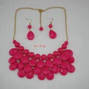Image of Teardrop Bib Necklace + Earrings: Hot Pink