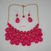 Image of Teardrop Bib Necklace + Earrings: Hot Pink