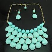 Image of Teardrop Bib Necklace + Earrings: Aqua