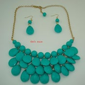Image of Teardrop Bib Necklace + Earrings: Dark Aqua