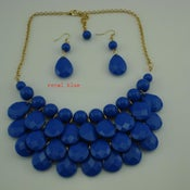 Image of Teardrop Bib Necklace + Earrings: Royal Blue