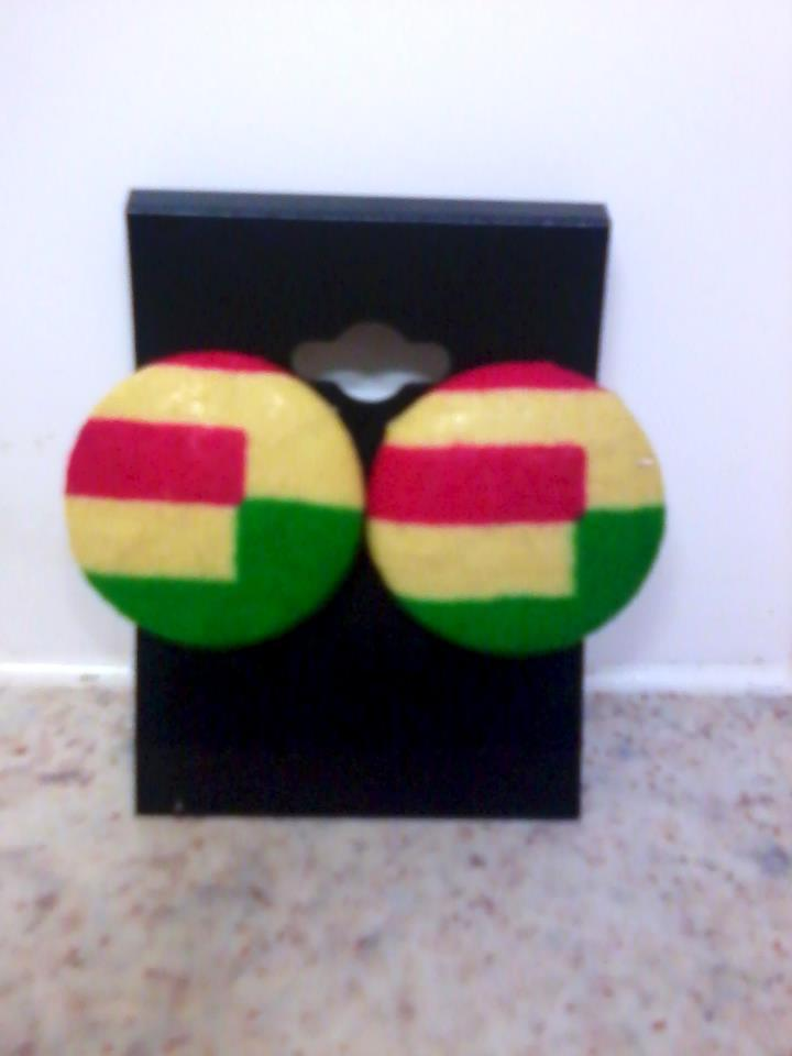 Image of Vekras Pink/ Yellow/Green Colourblock handmade stud earrings