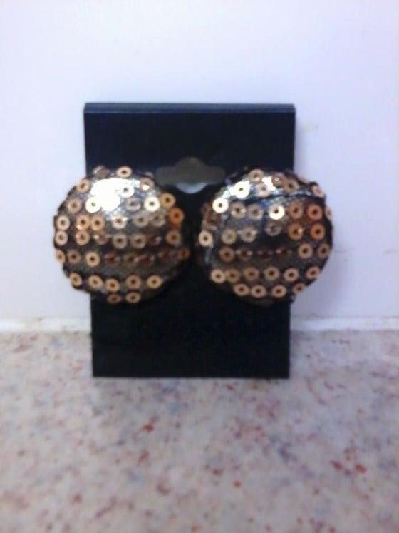 Image of Vekras Gold Sequined handmade stud earrings