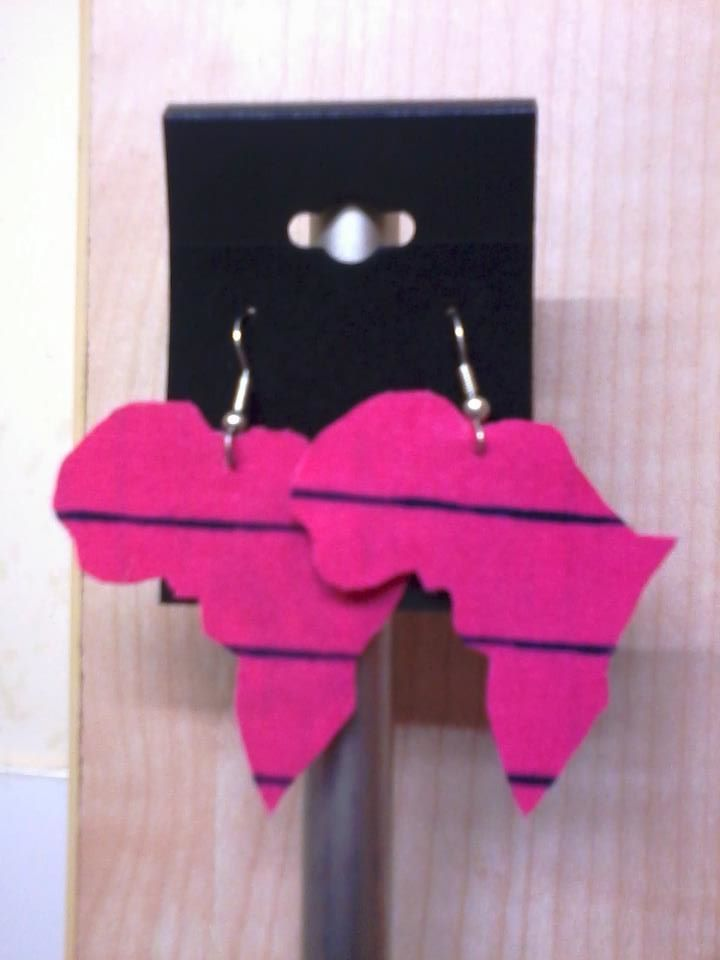 Image of Vekras Bright Pink Africa Shaped Earrings
