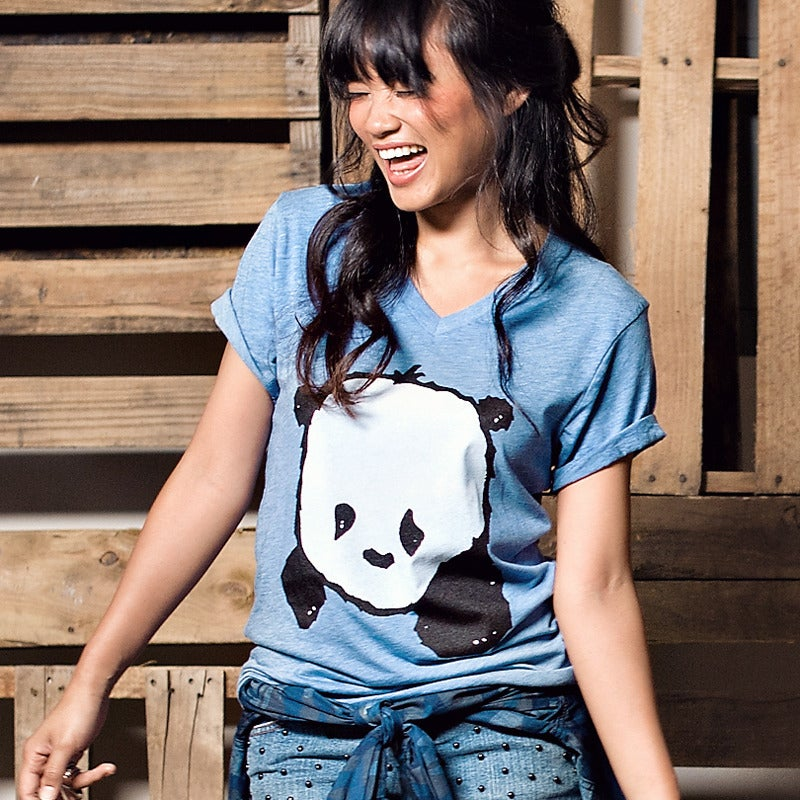 "Image of ""Baby Panda"" V-Neck (Light Blue Heather)"