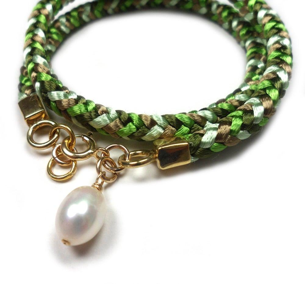 Image of Gull og grønne skoger.... - armbånd med 925S/forgylt 14K - square braided bracelet