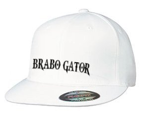 Image of BRABO GATOR Embroidered FlexFitted Flat Bill Hat ((WHITE))