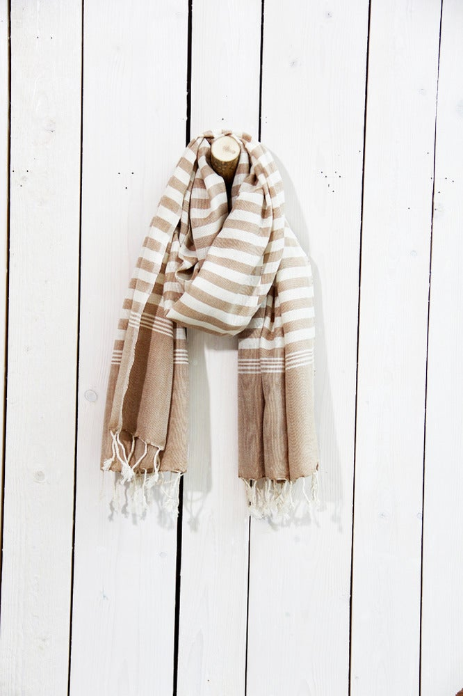 Image of Schal aus Baumwolle · Karamell - weiss gestreift ·