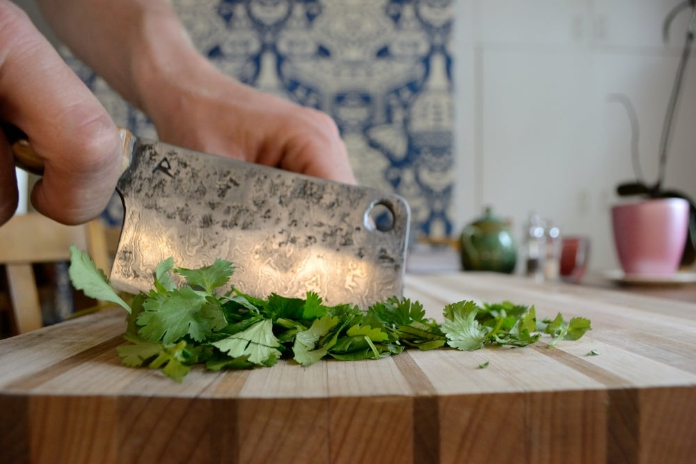Image of Damascus Vegetable/ Herb Chopping Knife