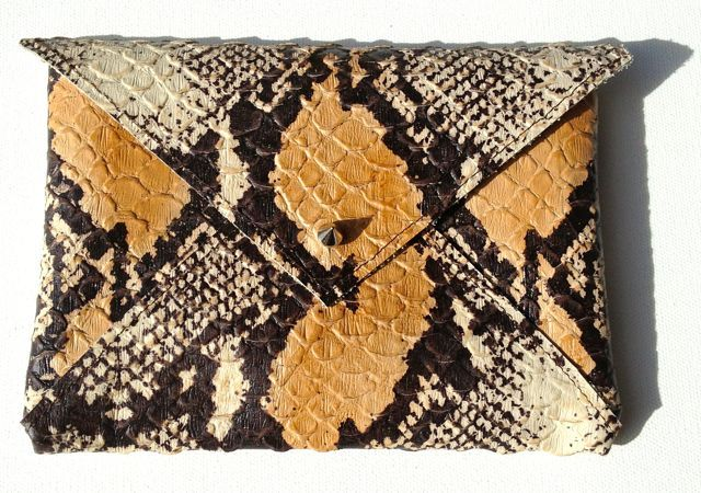 Image of Python Embossed Petit Leather Clutch