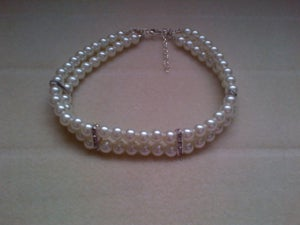 Image of Double layered pearl and crystal collar.