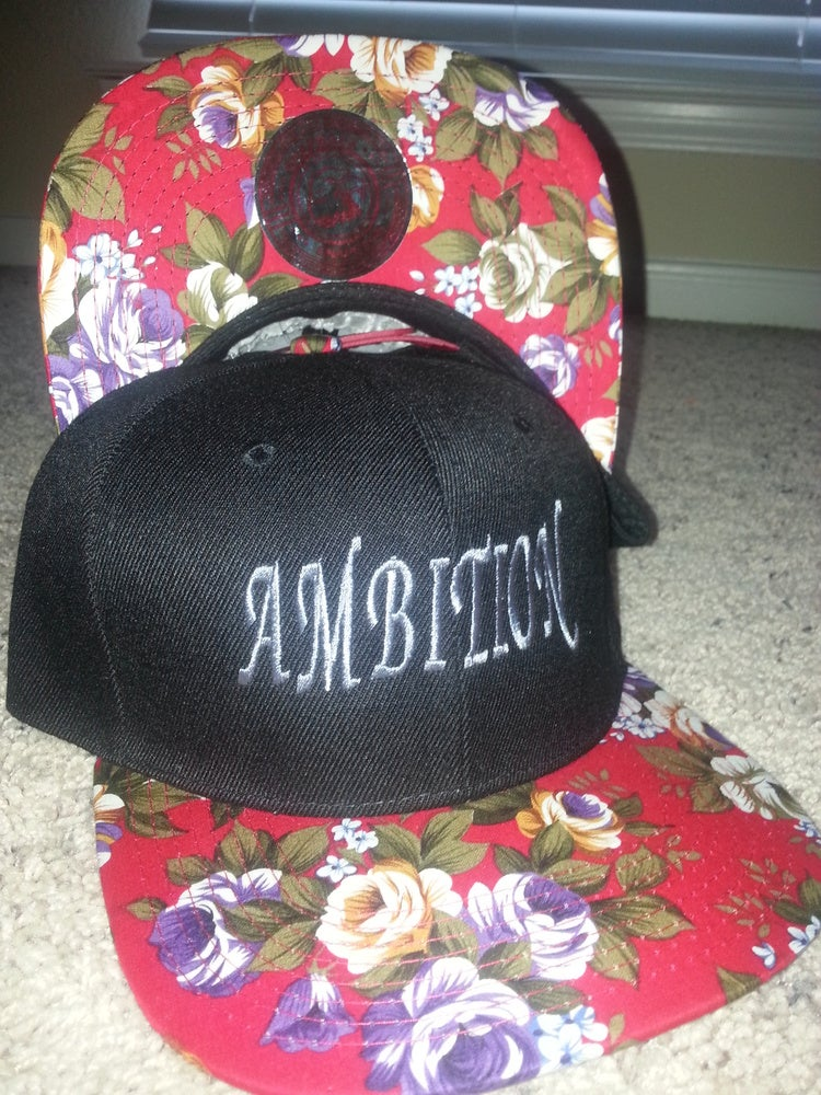"""Image of """"AMBITION"""" GREY/RED FLORAL SNAPBACK"""