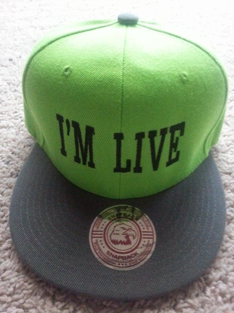 "Image of ""I'M LIVE"" BLACK/LIME & GREY GREEN SNAPBACK"