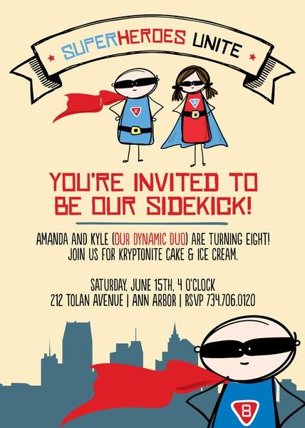 Image of Superhero/Sidekick Invitation