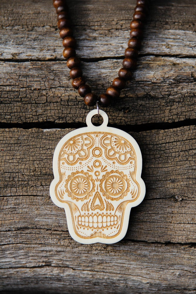 Image of Wood Pendant Necklace - Sugar Skull