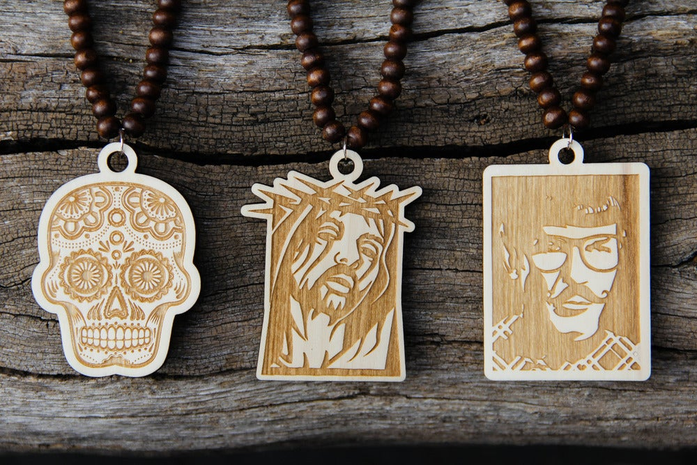 Image of Wood Pendant Necklace - Hipster Spock