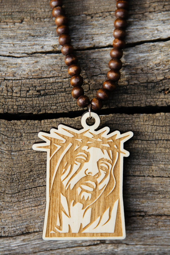 Image of Wood Pendant Necklace - Jesus