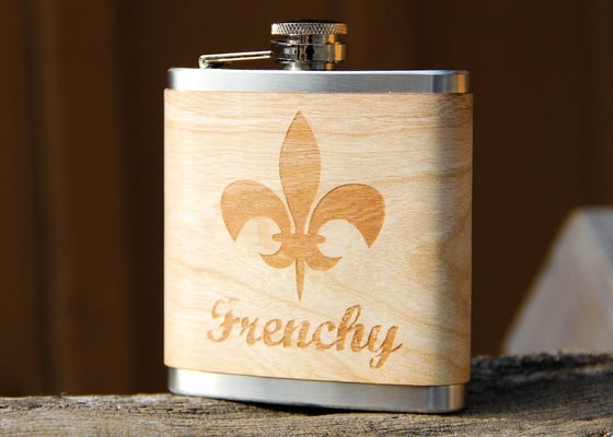 Image of Personalized 6 oz. Stainless Steel Hip Flask - Real Wood Veneer