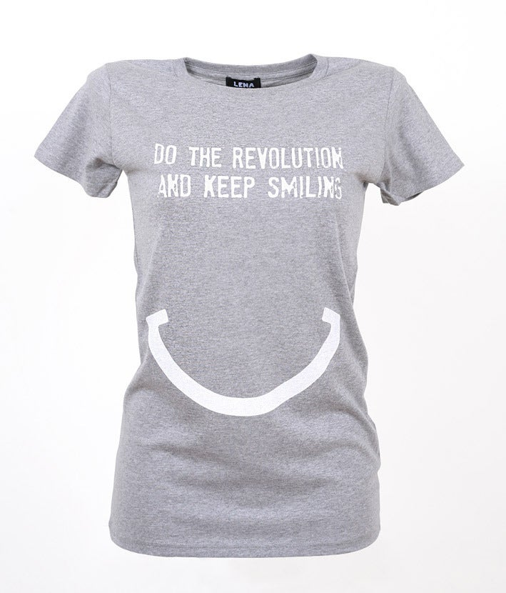 Image of DO THE REVOLUTION AND KEEP SMILING - T-Shirt grau meliert