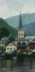 Image of Clocktower Church at Hallstatt, Austria