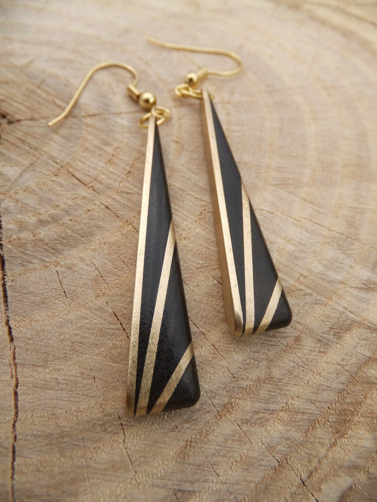 Image of Deco Inspired Earrings - Ebony and Brass
