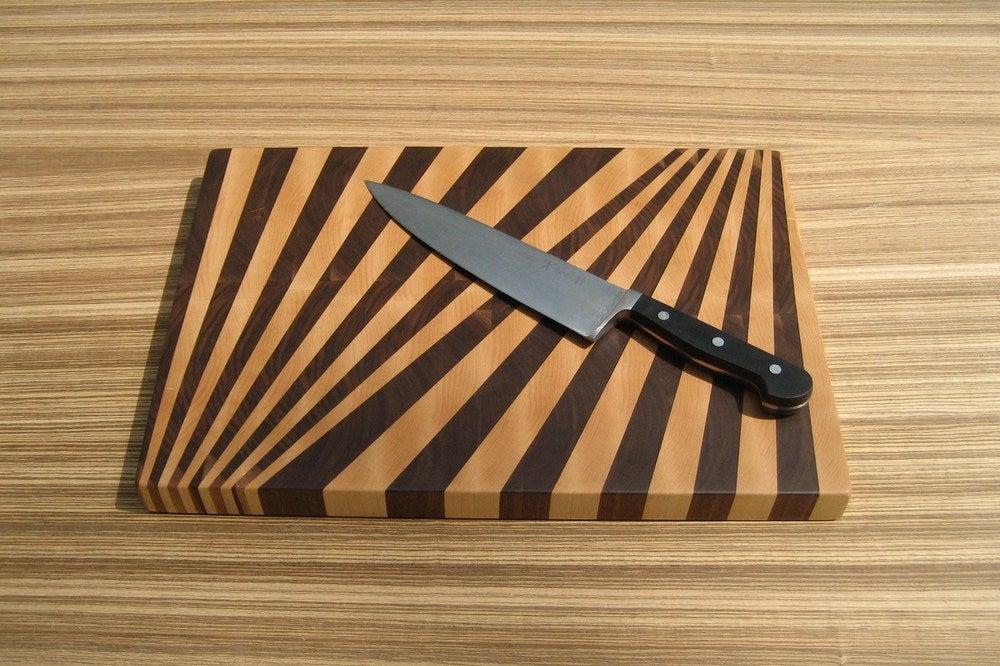 Image Of Fan Pattern End Grain Cutting Board