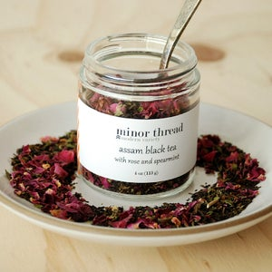 Image of Organic Assam Black Tea with Spearmint and Red Rose Petals - 3 Jars (Wholesale Package)