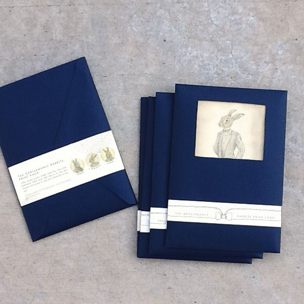 Image of Gentlemanly Rabbit print pack of 3