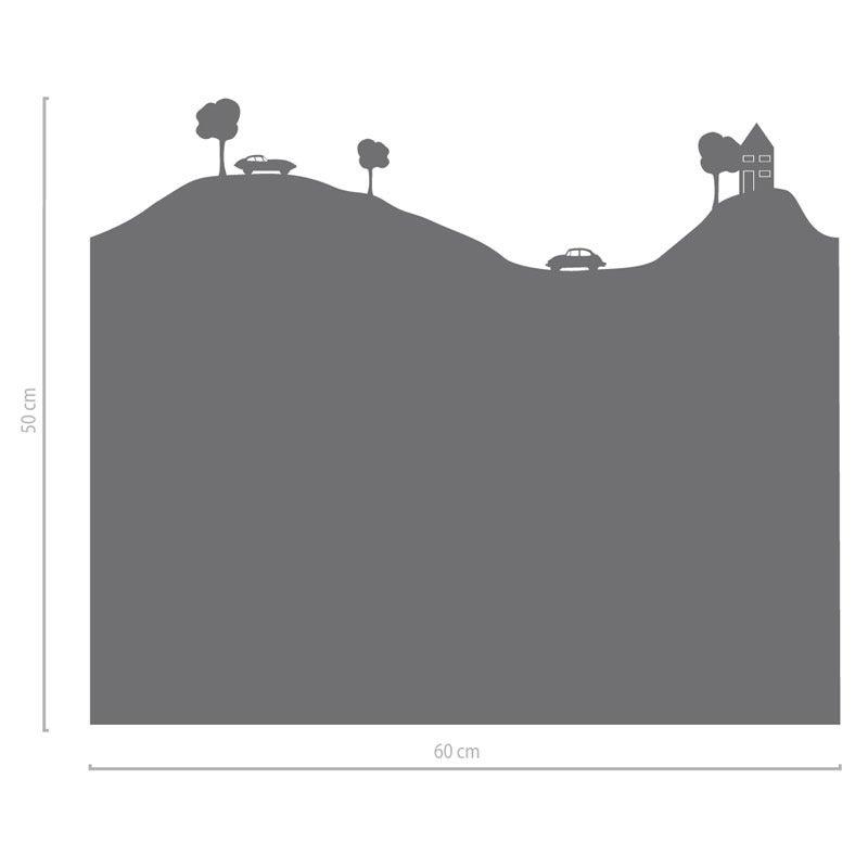 Image of Fenstertattoo Landschaft mit Autos, Bäumen und Haus
