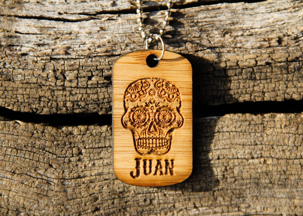 Image of Personalized Wood Dog Tag Necklace - Sugar Skull