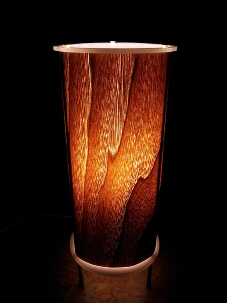 Image of Handmade Personalized Real Wood Accent Lamp - Walnut