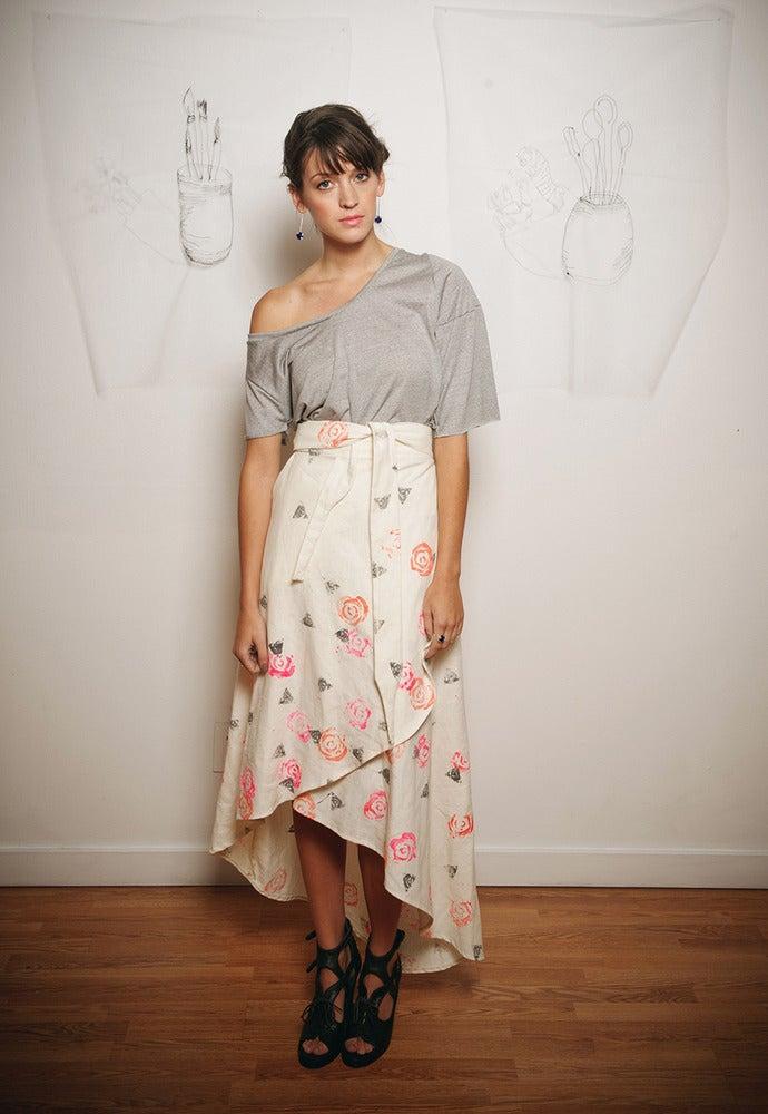 Image of Bok choy Rosette handprinted skirt