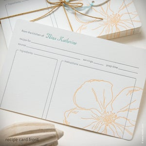 Image of Snow Drop Anemone Personalized Recipe Cards {#307}