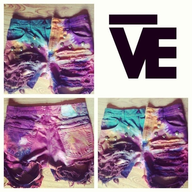 Image of Colorful Destroyed Studded Shorts