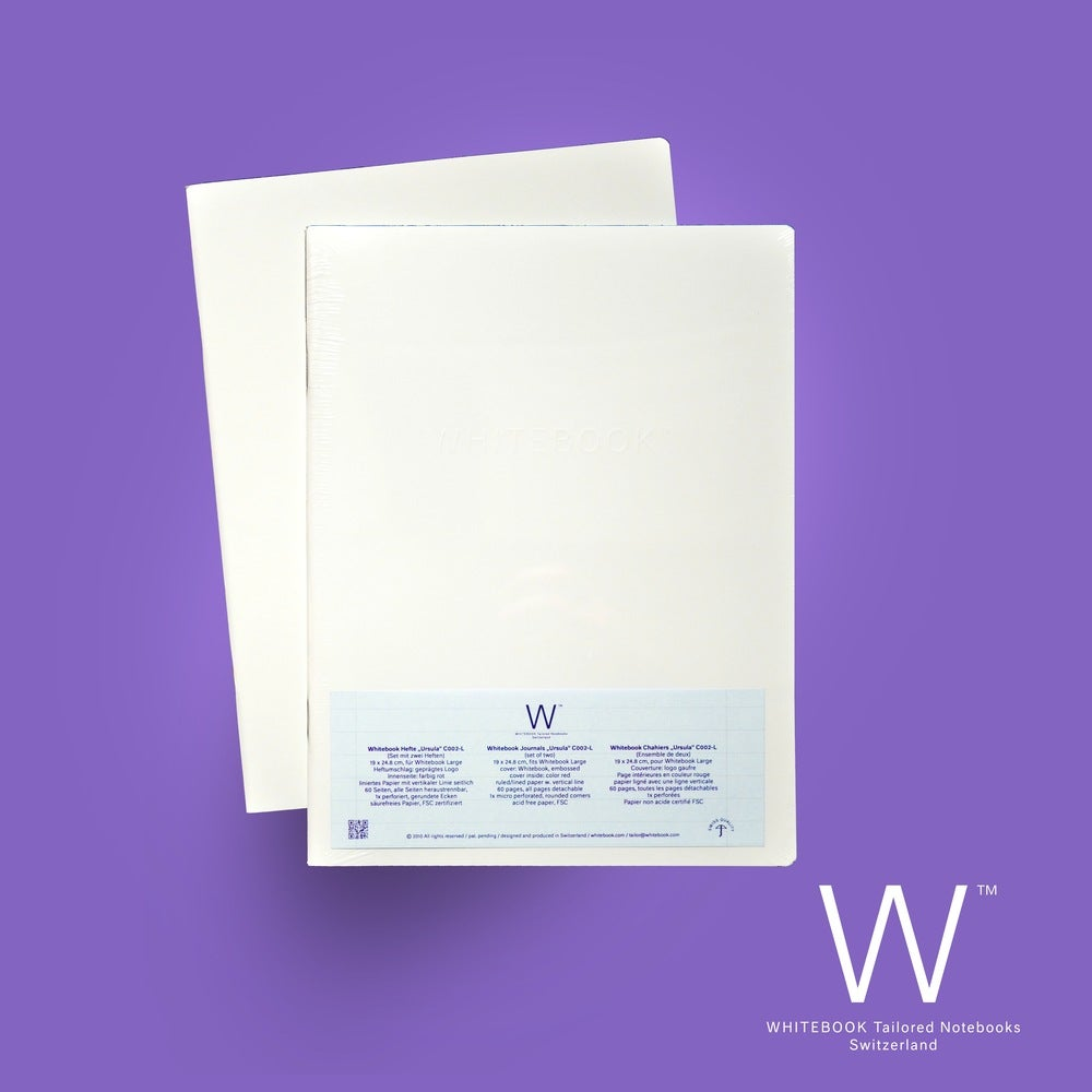 """Image of Whitebook Cahier """"Ursula"""", refill set of two, ruled/lined w. vertical line"""