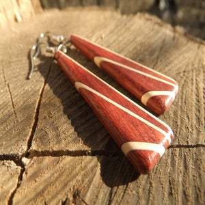 Image of Deco Inspired Earrings - Bloodwood and Holly