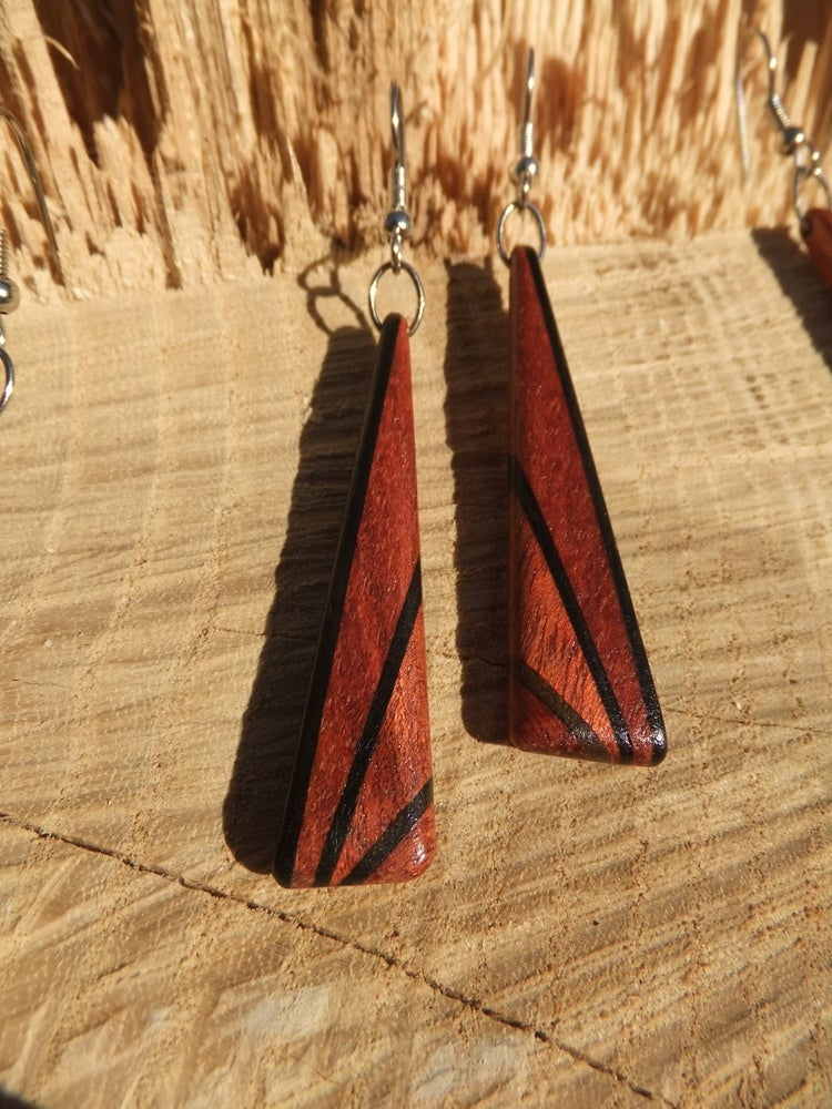 Image of Deco Inspired Earrings - Bloodwood and Ebony