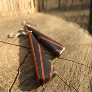 Image of Deco Inspired Earrings - Ebony and Bloodwood
