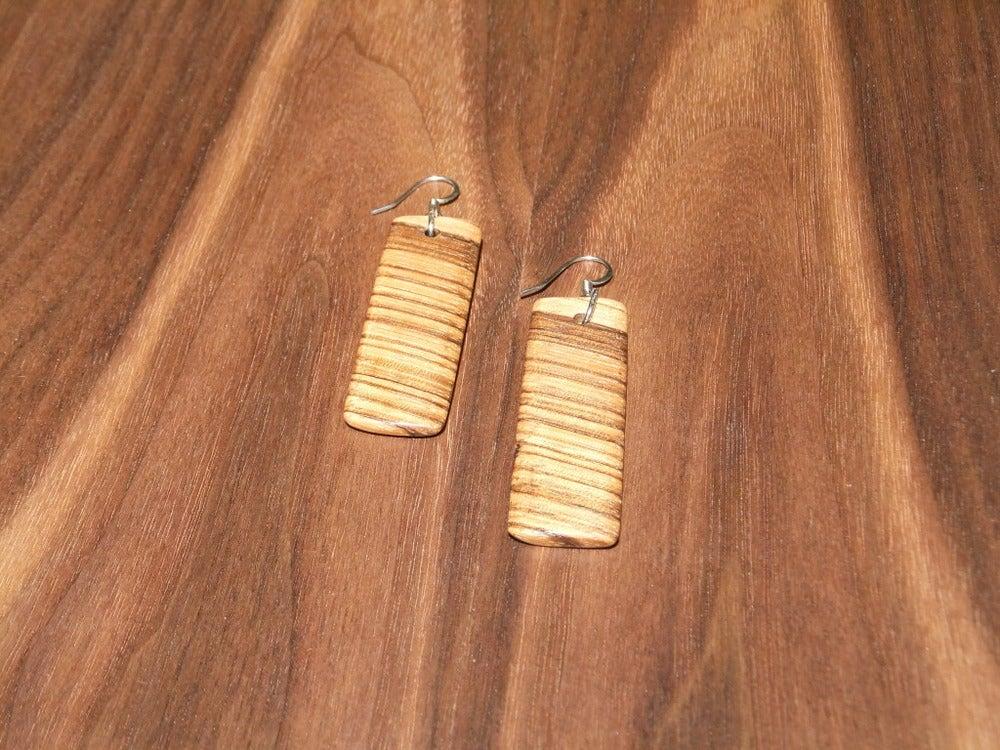 Image of Zebrawood Rectangle Earrings