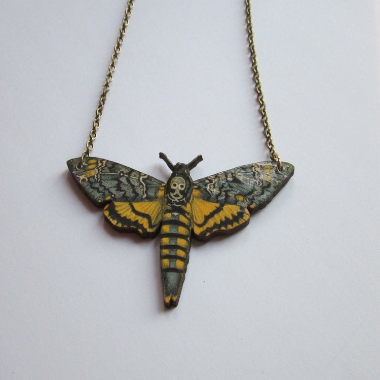 Image of Deaths head hawk moth wooden necklace
