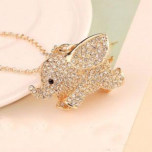 Image of Cute Rhinestone Golden Elephant Necklace