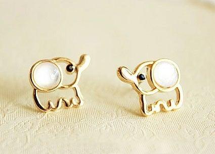 Image of Lovely Beige Opal Elephant Stud Earrings