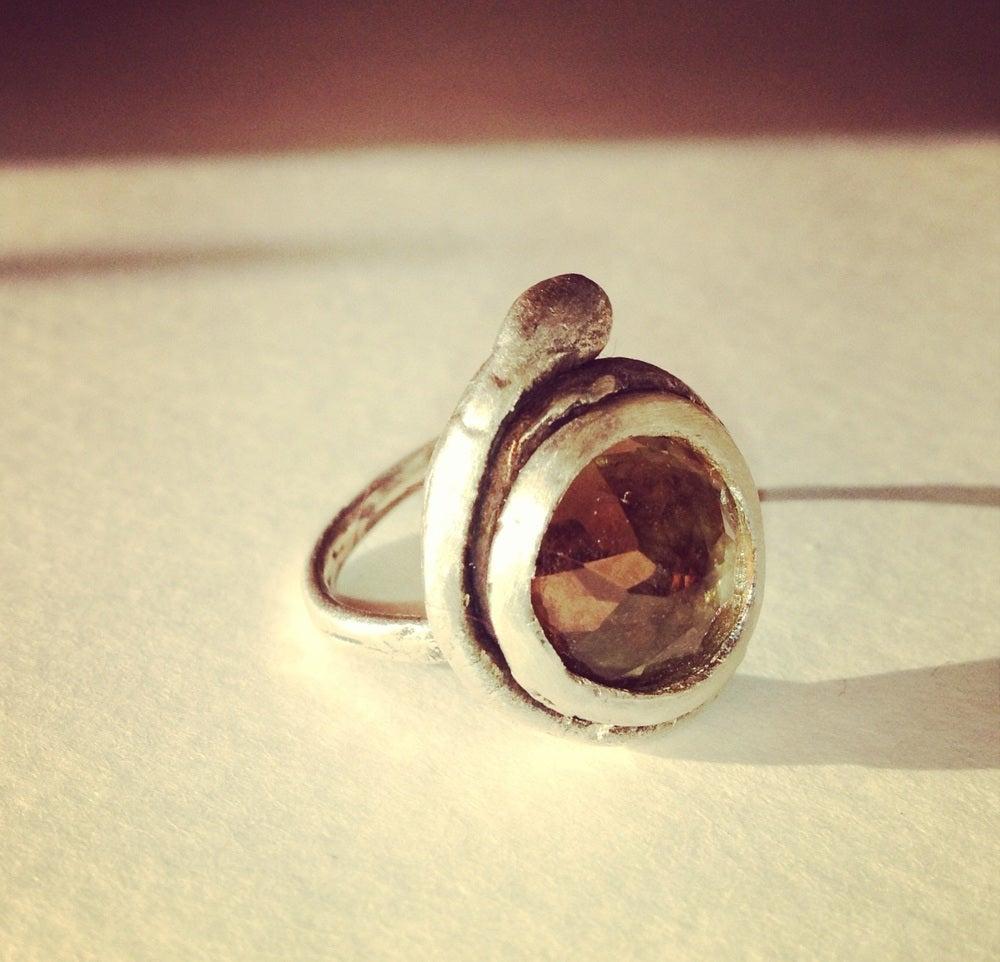 Image of Healer Ring, Silver , Smoky Quartz