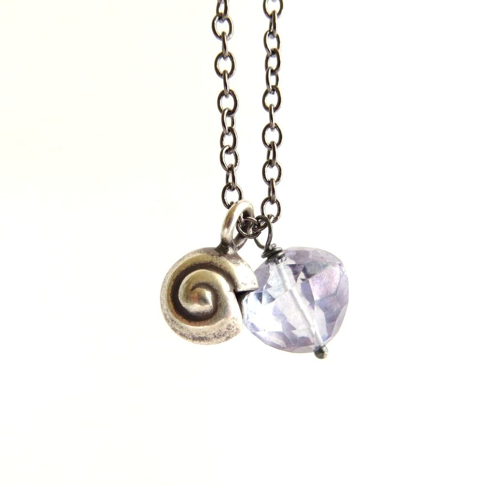 Image of Moamoa - Silver nautilus and quartz triangle long necklace