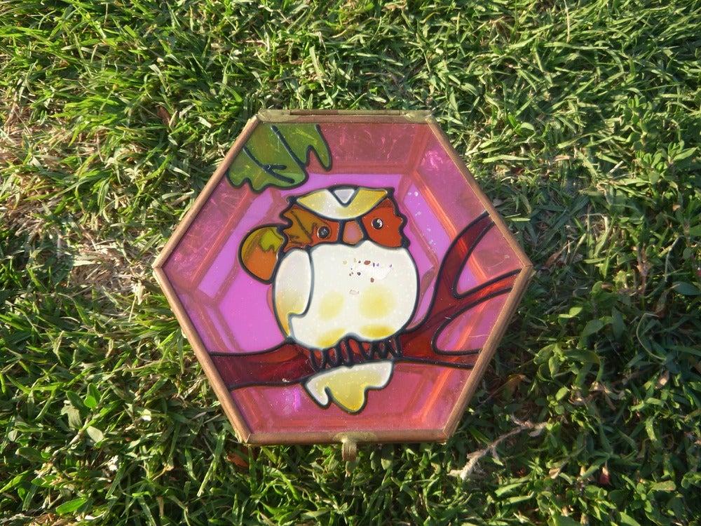 Image of Vintage Mirrored Owl Jewelry Box