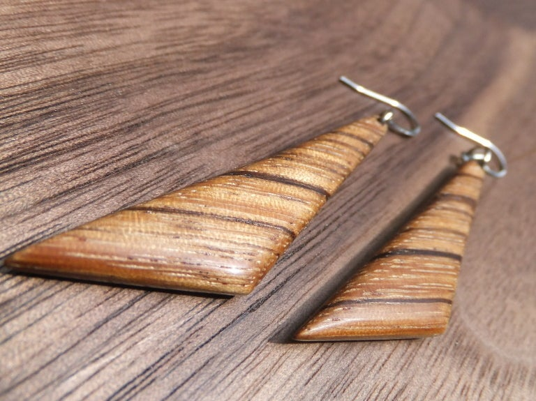 Image of Zebrawood Triangle Earrings