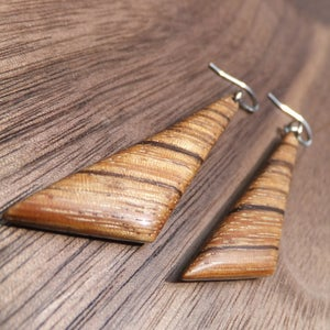 Image of Zebrawood Triangle Earrings