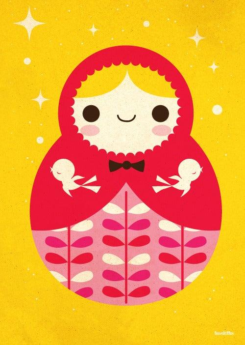 Image of Babooskha doll art print yellow